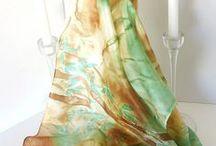 bambú pañuelo seda / silk scarves / pañuelos de seda pintados a mano silk scarves hand painted
