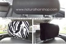 Satin Headrests / Long gone are the days of unsightly oil stains (can we say L.O.C. method!) on your headrest! Protect your precious locs, and headrests, with our satin headrest cover!  Simply slip the the headrest cover over any headrest and pull the satin ribbon drawstring to adjust the size for a more customized fit.  This headrest cover fits larger and smaller headrests.  - Get yours at: http://www.naturalhairshop.com/product-category/headrest-covers/