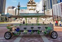 The Pickled Pedaler / The Pickled Pedaler is Indianapolis' one of a kind party bike! Our bike seats up to 14 riders. We provide the driver, tunes, large cooler, electric motor, and FUN! BYOB (no glass please). 2-hour tours starting at just $300.