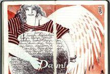 """Cuader-nonsense / """"...como la abeja, que extrae indiscriminadamente sus materiales de las rosas y del hollín de las chimeneas...""""  Thomas de Quincey, """"Confesiones de un inglés comedor de opio"""".  Dibujos con bolígrafos BIC cuatro colores y, a veces, un poco de acuarela."""