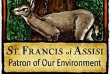 SAINT FRANCOIS D'ASSISE / François d'Assise (San Francesco d'Assisi, né Giovanni di Pietro Bernardone) (entre 1181 et 11821 ), est un religieux catholique italien, fondateur de l'ordre des  franciscain  .Un jour en écoutant un passage de l'Évangile, il lui vient une réponse à ce qu'il cherche : passer sa vie à aimer toute la création. Il transforme alors sa vie, il se fait pauvre, se soucie d'annoncer les messages de joie, d'espoir et d'amour contenus dans la Bible, et de porter la paix aux gens et à toute la Création.