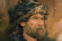 MOUNTAIN MEN / L'expression anglaise de mountain man désigne les trappeurs et explorateurs qui parcouraient les montagnes Rocheuses de l'Amérique du Nord vers 1810 jusqu'au début des années 1840. Principalement canadiens ou américains, ces Mountain men étaient d'origine ethnique, sociale et religieuse variée. Ils étaient surtout motivés par le profit, chassant les castors et vendant leurs peaux. Quelques-uns, cependant, s'intéressaient davantage à l'exploration de l'Ouest. (wikipédia)