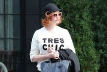 CHRISTINA HENDRICKS  |  EXTRAORDINARY STYLE / Style Signature: Statement red hair, pants, flats and a statement bag for casual, old-Hollywood glamor for events.