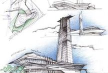 Pencil / This board presents a multitude of architectural based images that have been rendered using different types of pencil and shading techniques.