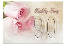 Idéias para 90 anos / bolos, convites, brindes, decorações, etc...