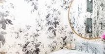 Bathrooms / Marble bathroom, powder rooms,  brass details, wallpaper, custom cabinetry