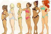 corps femme1 / corps des femmes présenté sous différentes manières de la photo au dessins.