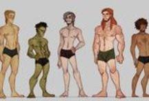 corps homme1 / Corps des hommes présentés de différentes manières de la photos au dessin