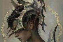 personnages fantasy1 / Recherches de personnages fantastiques, styles, caractère, vêtements ... pour la création. (De la Fée, en passant par le magicien, jusqu'au troll des montagnes... )