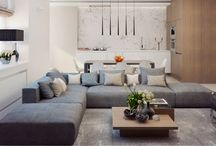 Living room / Media room, family room / by Adriane Rodrigues Alkmin