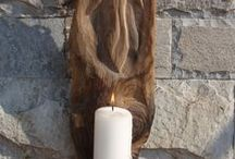 Drift wood carvings / Angel Candle Holder