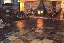 Rustic Multicolour slate flooring and wall tiles - Chinese. / Rustic Multicolour natural slate floor and wall tiles.
