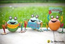 Smiling Frogs and Yoga Frogs / Cute, quirky and undeniably amusing, this range of metal animals add a splash of colour and fun to any outdoor space!