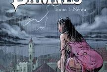 """""""Les Damnés"""" (série en 2 tomes) par Guida et Leduc. / A group of mercenaries, afflicted by a curse, is engaged to  stop a series of murders and disappearances.  Buy the 1st opus, """"Néora"""" : goo.gl/8RujzQ"""