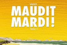 """""""Maudi Mardi !"""" (série en 2 tomes) par Nicolas Vadot. / Isolated on an island, Achilles spends his time watching the ocean. There is one thing he knows, he will die a Tuesday. Nothing can happend to him the other days.  A dramatic event will shake that conviction. He decides to break his loneliness and go to Hawkmoon, where his first love lives.  While searching for her, the days of the weeks go one after another,then Monday Arrives. At the stroke of midnight, he must face the anguish of the following day. The cursed Tuesday"""