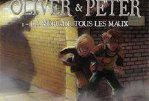 """""""Oliver & Peter"""" (série en 3 tomes) par di Felice, Pelaez et Daniel. / Le fugitif Oliver Twist, échappant à la foule vindicative, rencontre un jeune garçon, bravache et arrogant, habitué à être le centre d'un univers qu'il est incapable de rejoindre. Ce garçon, c'est Peter Pan, poursuivi jusque dans le Londres de 1880 par son vieil ennemi: le capitaine Crochet, flamboyant et séducteur, vengeur et psychopathe, mais lié aux deux garçons par la même blessure sourde et lancinante..."""