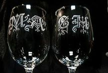 *** Chalecos, glasses with engraved initials