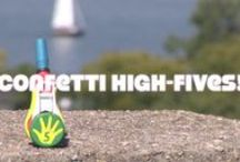 Better High-Fives for Better Lives. / Confetti high-fives!