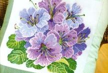 Cross stitch Flowers,Pillow's 10