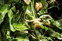 """Leafy Greens (chard, kale and more) / Kale, chard, mustard greens, beet greens, radish greens -- they're all here!  Try them in the fall or winter for the sweetest greens of the year.  (Collards are included on the """"Brassicas"""" board and spinach has a board of its own.)"""