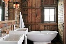 Rustic Bathrooms / Rustic design brings in the elements of wood, metals and stone to create a warm and inviting space. We've rounded up a few of our favorite bathrooms to inspire a rustic redesign in your home. Take a look...