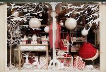Christmas window schemes / Fun, pretty, exciting winter shop window schemes