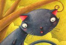 """Dessine moi un chat !!! - Draw me a cat !! / Chats dessinés, chats stylisés, ces tableaux sont """"chat crément"""" beaux !!"""