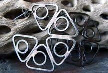 Sterling and gold hoop earrings
