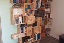 Idées bibliothèque / Des idées qui m'ont inspirées pour créer ma bibliothèque avec des caisses de vin en bois