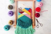 Weaving + pom poms / Learn to weave. Weaving inspiration.