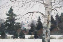 Winter landscape. Painting / Зимний пейзаж. Живопись. / The paintings on the theme of winter / Картины  на тему зимы