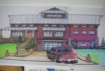 Studio barn house ideas /   ,,,just a dream ,the idea was to take the exterior look of a covered bridge put a breezeway below ,a shop & spare guest room & have all open 2nd floor living with barn style interior with a modern/rustic flair. Lots of screen porches for viewing nature. Don`t forget the art studio.  Inspired by the Viking long houses        / by Jay Surfwillys