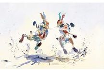 Jake Winkle / Limited edition prints of penguins, hares, elephants, horses and zebras from paintings by artist Jake Winkle. Full of light and movement.