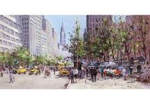 Henderson Cisz / Vibrant cityscape paintings by artist Henderson Cisz.  Many hand embellished limied edition prints.
