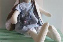 bunnies / textile bunny, maileg and tilda , rag dolls, stuffed animals