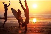 Body boarding and surfing