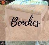 Benches / Collection of Painted Refinished Repurposed Upholstered Benches