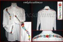 kalocsai férfi ingek / Saját kezűleg hímzett kalocsai mintás férfi ingek, saját tervezésű mintákkal.