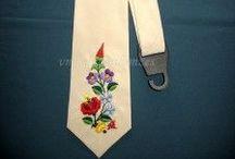 Kalocsai nyakkendők / Saját kalocsai kézi hímzéseim