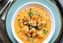 Äta: Soppa. / Creamy.
