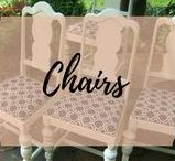 Chairs / Painted Reupholstered Cane and Rush collection of all kinds of chairs.