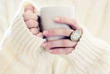 comfy cozies / winter wear, seasonal food :) weather, snow n love