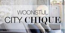 Woonstijl   City Chique / Thuiskomen was nog nooit zo fijn! Strak en elegant met bijvoorbeeld een bronzen touch om je interieur een stijlvolle boost te geven. Zwart en wit zijn de hoofdkleuren in deze stijl, meestal met een toevoeging van één warme kleur. Stijlvol, maar toch gezellig, dat is de stijl City Chique.