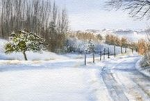 Watercolor - Snow / I enjoy the Winter.  Beatiful light and silence.