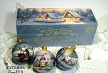Decoupage a dekor. vianočné ozdoby