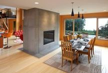 Concrete Fireplaces / All the fireplaces and fireplace surrounds on this board are projects of CustomCreteWerks. Visit our website for more info!  http://customcretewerks.com/residential/fireplaces