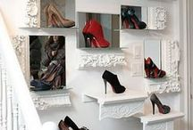Closet. / Storage and organization ideas. Great ways to color coordinate clothes and store shoes and heels.