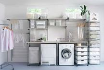 Entrys & laundry rooms. / Great design in laundry rooms. Creatively organized laundry storage.