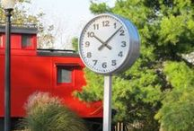 Post Clocks / A double-sided clock mounted to a post, to be seen from two directions.  All of our clocks are built-to-order, as each application is different.  www.lumichron.com