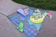 David Zinn's Street Art / David Zinn's wonderful street art--lots of chalk sidewalk art!